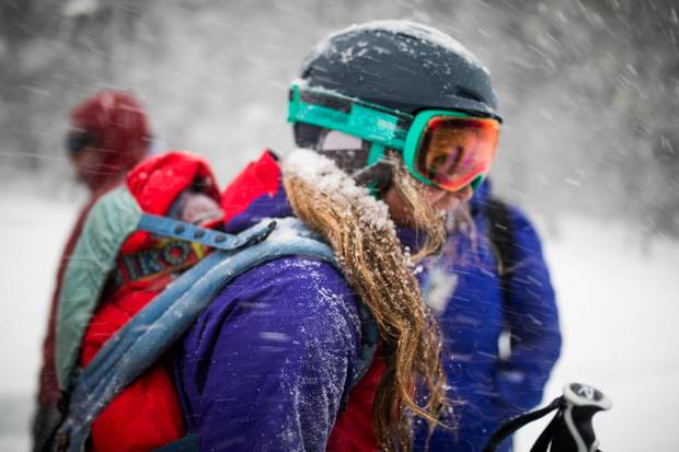 Tessa Treadway skiing with son Raffi