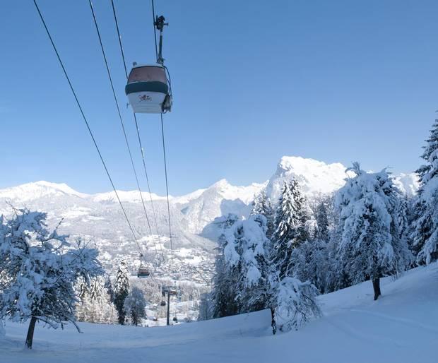 A gondola takes visitors from Samoens to the Grand Massif ski area.
