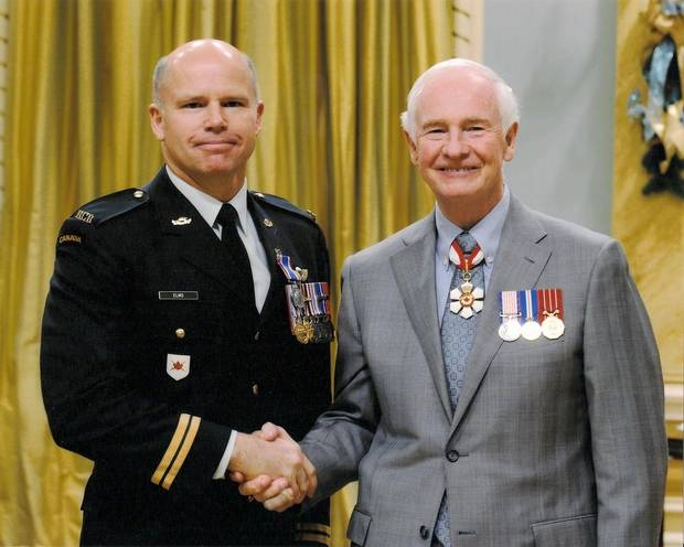 Captain Brad Elms and Governor General David Johnston.