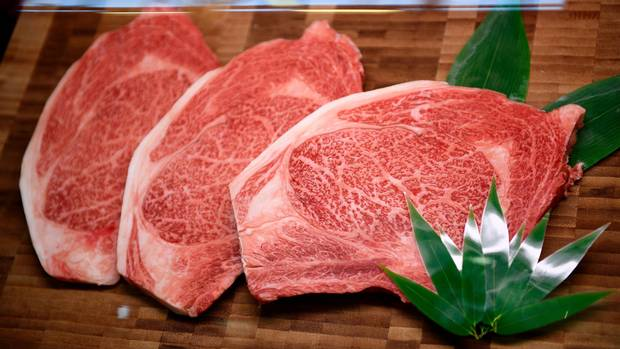 Fresh cuts of matured Wagyu beef are displayed in October.