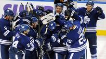 The Toronto Maple Leafs celebrate their victory over the Buffalo Sabres after the overtime period of their NHL hockey game in Buffalo, New York January 29, 2013 (DOUG BENZ/REUTERS)