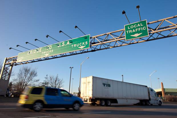 Traffic approaches the Ambassador Bridge border crossing in Windsor, Ont.