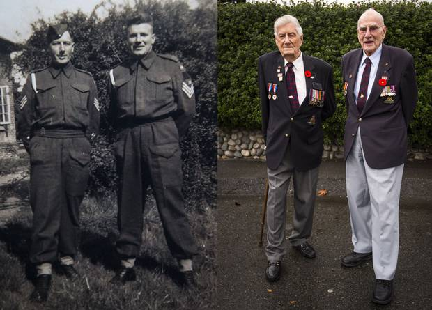 Canadian Army WW II veterans Orme Payne (left) and Gordie Bannerman met before the war and began an unwavering friendship that remains strong today. The pair, pictured in Aldershot, England in 1942 and in Horseshoe Bay in West Vancouver last week, still call each other several times a week.