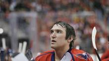 Washington Capitals left wing Alex Ovechkin (8) from Russia pauses during a timeout in the third period of an NHL hockey game against the Toronto Maple Leafs on Tuesday, Feb. 5, 2013, in Washington. The Maple Leafs won 3-2. (Alex Brandon/AP)