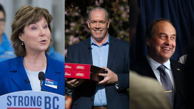From left to right: BC Liberal Leader Christy Clark, NDP Leader John Horgan, and Green Leader Andrew Weaver.