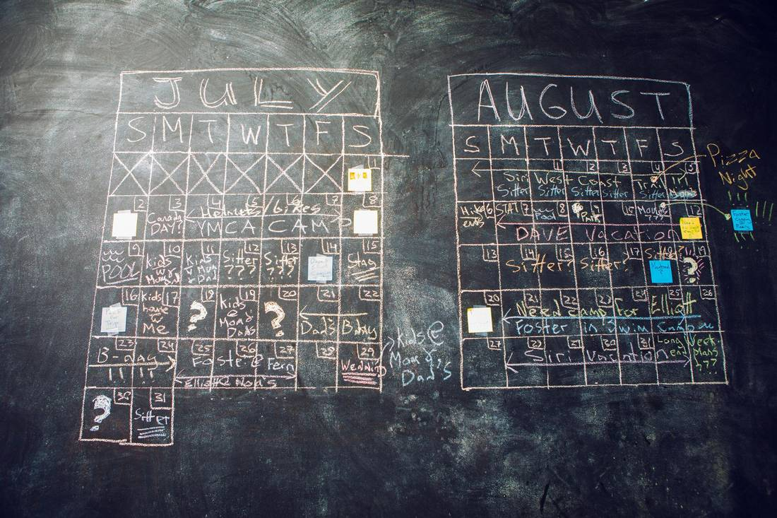 Dave McGinn's family summer calendar is seen in his Toronto home on August 3, 2017.