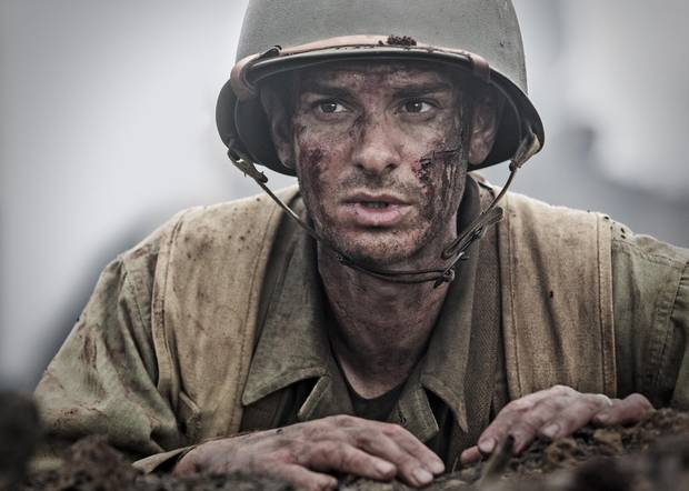 Andrew Garfield in Hacksaw Ridge, a based-on-a-true-story Second World War drama about a a conscientious objector who signs up for the infantry, but refuses to carry a weapon.