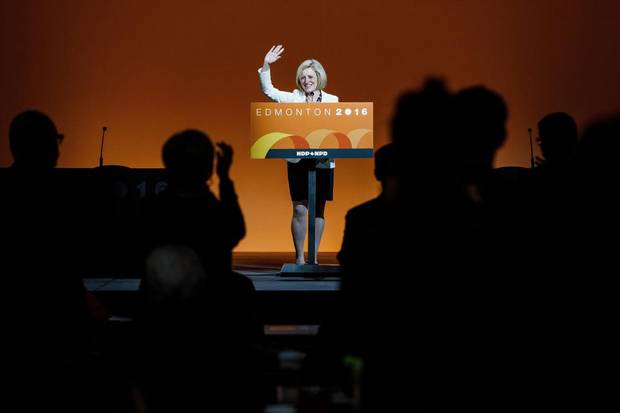 Alberta Premier Rachel Notley gives a speech during the 2016 NDP Federal Convention in Edmonton earlier this month.