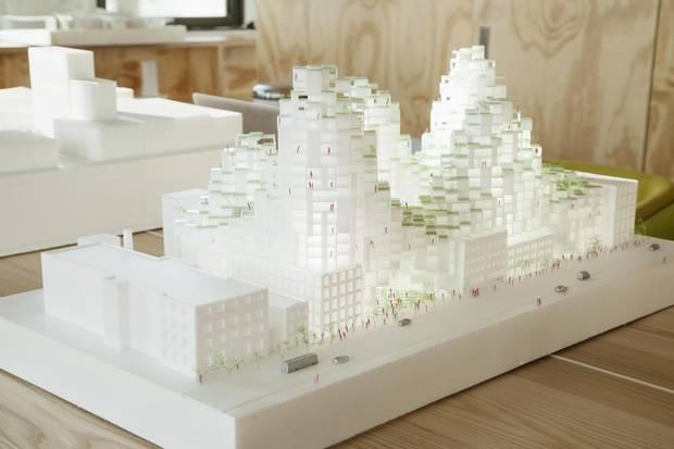 A model of the King Street development is shown in Mr. Ingels's New York office.