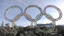 Olympic rings for the 2014 Winter Olympics are installed in the Black Sea resort of Sochi, southern Russia, late Tuesday, Sept. 25, 2012. (Ignat Kozlov/AP)