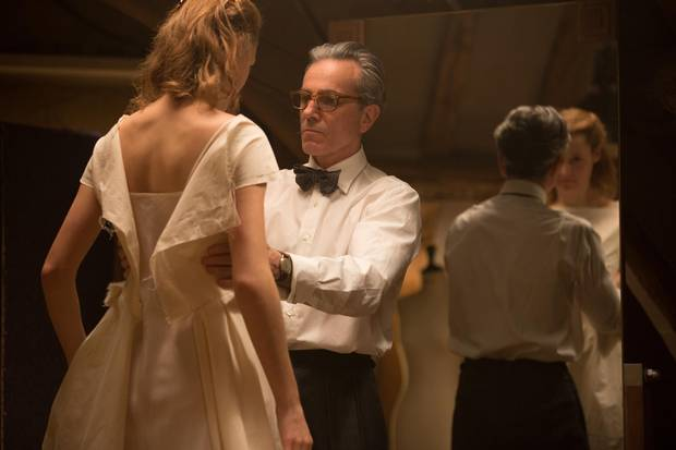 Phantom Thread stars Vicky Krieps, leftm and Daniel Day-Lewis, who plays fictional London couturier Reynolds Woodcock.