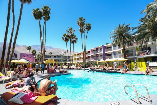 A Coachella festival pool party at Saguaro Hotel, a colourful hot spot that was once just a Holiday Inn.