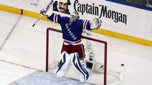 New York Rangers goalie Henrik Lundqvist celebrates beating the Montreal Canadiens 1-0 in Game 6 of the Eastern Conference Final of the 2014 Stanley Cup Playoffs at Madison Square Garden. (Andy Marlin/USA Today Sports)