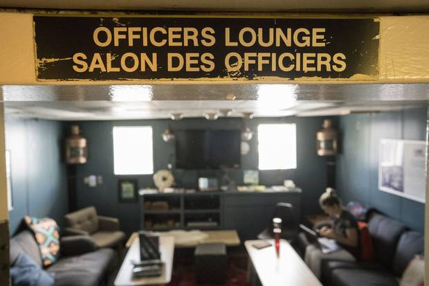 Felicity Feinman, part of the ship's comms team, sits in the officer's lounge on Canada C3.