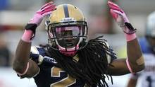 Winnipeg Blue Bombers defensive back Alex Suber celebrates after a Montreal Alouettes incomplete pass during first half CFL action in Winnipeg, October 22, 2011. (Reuters)