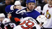 Toronto Maple Leafs' Frazer McLaren fights with Ottawa Senators' David Dziurzynski (R) during the first period of their NHL game in Toronto March 6, 2013. (MARK BLINCH/REUTERS)