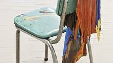 Sarah Cale's wonderfully drippy Chair 2 is a kitchen chair draped with skin-like sheets of oil paint. (Toni Hafkenscheid/Courtesy Jessica Bradley Gallery)