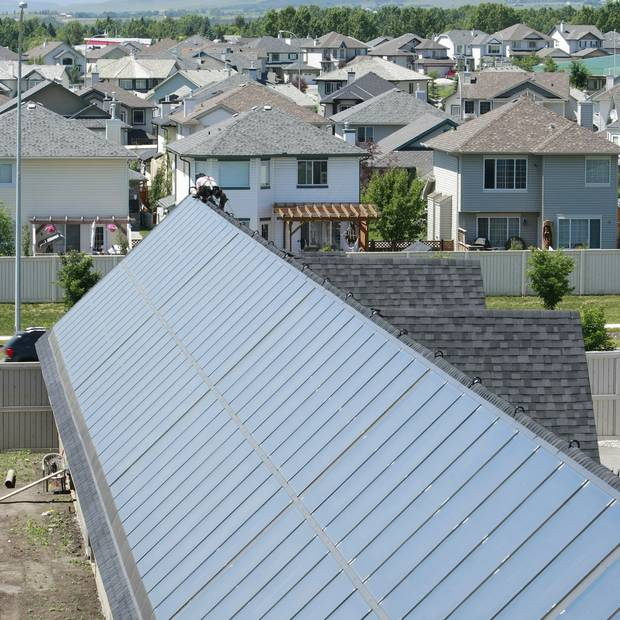 Solar panels line the rooftops of the Drake Landing Solar Community in Okotoks, Alberta.
