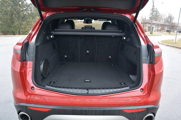 The Stelvio's cargo space is average at best.
