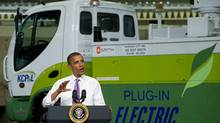 US President Barack Obama speaks on the economy and job creation at Smith Electric Vehicles in Kansas City, Mo. (Saul Loeb/AFP/Getty Images)