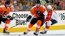 Claude Giroux #28 of the Philadelphia Flyers skates with the puck against the Florida Panthers on November 13, 2010 at the Wells Fargo Center in Philadelphia, Pennsylvania. (Lou Capozzola/2010 Getty Images)