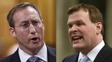 Defence Minister Peter MacKay and Foreign Affairs Minister John Baird. (CHRIS WATTIE AND PATRICK DOYLE/REUTERS)