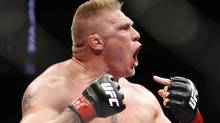 Brock Lesnar will make his return to the Octagon on December 30. (AP Photo/ John Locher) (John Locher/AP)