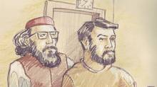 Two men, Hiva Alizadeh (left) and Misbahuddin Ahmed, were charged in an Ottawa court on Thursday with terrorism offences. Courtroom sketch by Dave Clendinin. (Dave Clendinin)