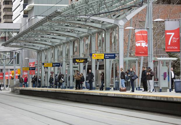 Passengers wait for the Calgary C-Train's Light Rail System along 7th Avenue in the city centre on Friday, January 28, 2010.