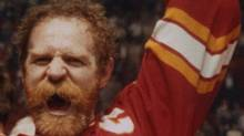 Calgary Flames' Lanny McDonald raises the Stanley Cup in Montreal, May 25, 1989, after Flames defeated Canadiens. (CP PHOTO/Bill Grimshaw) (BILL GRIMSHAW)