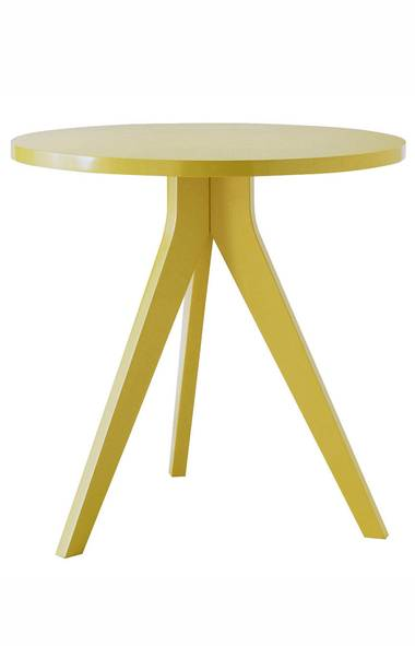 WEST ELM'S TAKE At West Elm, there's ample opportunity to bring home the latest fashionable hue, including this season's tangy citrus tones, without making a big-ticket investment. Among my favourites from the American chain right now: a zingy yellow tripod table ($207.59 through www.westelm.com). (Handout/Handout)