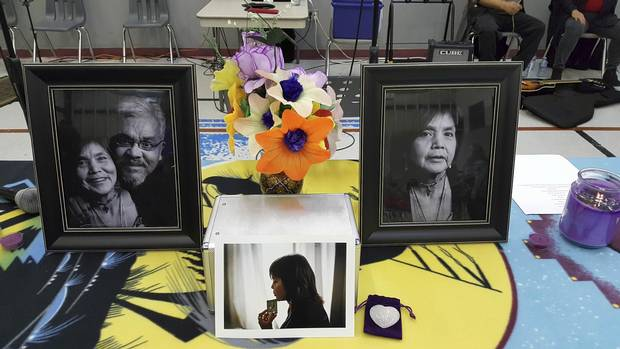 A memorial for Molly Dixon is displayed at a Quatsino funeral service on Dec. 8, 2017.