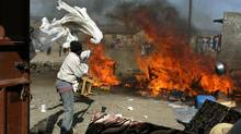 A picture taken on Jan. 29, 2008 shows ethnic clashes in the Rift Valley town of Naivasha. (ROBERTO SCHMIDT/Roberto Schmidt/AFP/Getty Images)