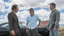 Bob Odenkirk, Peter Gould and Vince Gilligan on set of Better Call Saul (AMC)