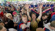 Winnipeg hockey supporters rally at The Forks in Winnipeg, Tuesday May 31, 2011, after the announcement that an NHL team will be returning to the city after 15 years. (DAVID LIPNOWSKI/THE CANADIAN PRESS/DAVID LIPNOWSKI/THE CANADIAN PRESS)
