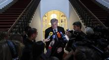 Bavarian State Premier Horst Seehofer and head of the Christian Social Union (CSU) is surrounded by media during his arrival in the Bavarian state parliament in Munich July 17, 2012. (Michaela Rehle/Reuters)