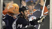 Edmonton Oilers' Ryan Smyth celebrates his second goal of the game against the St. Louis Blues during their NHL hockey game in Edmonton October 30, 2011. The Oilers won 4-2. REUTERS/Dan Riedlhuber (Dan Riedlhuber/Reuters)
