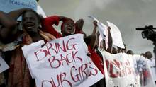Women attend a protest in Abuja on April 30, 2014, demanding security forces to search harder for more than 220 schoolgirls abducted by Islamist militants. (AFOLABI SOTUNDE/REUTERS)