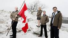 Members of the True Patriot Love Foundation announced their expedition to the Magnetic Pole in Montreal, January 10, 2014. Members include Expedition Leader Richard Weber (L), injured soldier Shauna Davies (2nd L), Soldier Team Captain David Quick (2nd R) and Expedition co-chair Paul Desmarais III (R ). (Christinne Muschi For The Globe and Mail)