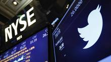 The Twitter logo is seen on the floor of the New York Stock Exchange in New York in this file photo taken November 7, 2013. (LUCAS JACKSON/REUTERS)