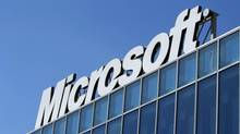 The Microsoft logo is seen at their offices in Bucharest March 20, 2013. (Bogdan Cristel/Reuters)