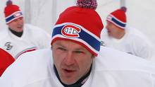 Claude Lemieux leads a group of former Montreal Canadiens during the Heritage Classic practice at Commonwealth Stadium in Edmontonon Friday November 21, 2003. John Ulan/The Globe and Mail (John Ulan)