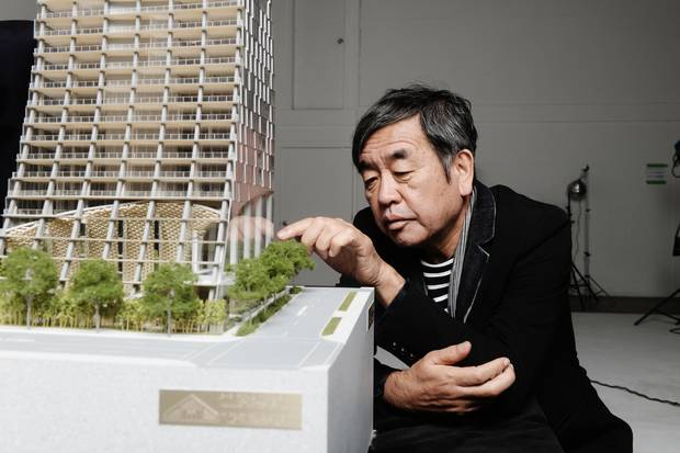 Architect Kengo Kuma with a model of Alberni.
