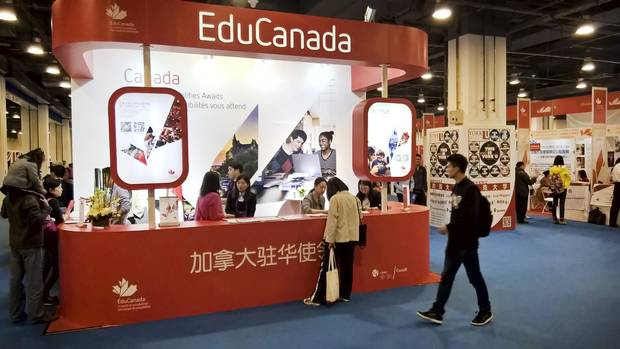 A Canadian kiosk is set up at the 2017 China Education Expo in Beijing in October. The Expo is a multicity overseas fair that this year attracted 600 foreign schools and tens of thousands of Chinese parents and students.