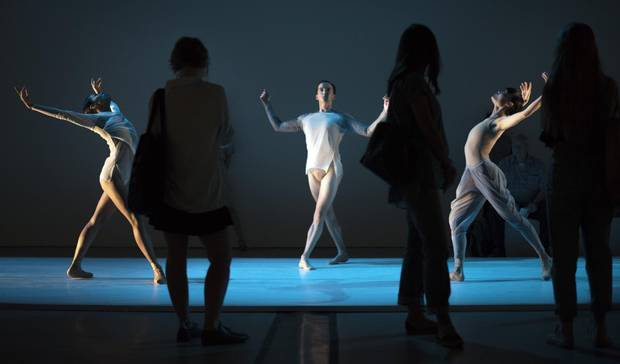 Artists with the National Ballet of Canada performs during dress rehearsal of The Dreamers Ever Leave You, at the Art Gallery of Ontario on August 30 2016. The performances run from Aug 31 till Sept 10 2016. The immersive work was inspired by the work of Canadian painter Lawren Harris. (Fred Lum/The Globe and Mail)