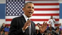 U.S. President Barack Obama speaks during a campaign event at Cuyahoga Community College in Cleveland, Ohio June 14, 2012. (KEVIN LAMARQUE/Reuters)