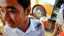 Cambodian market vendors sell deep-fried tarantulas for about 12 cents each. (Bruce Kirkby/Bruce Kirkby)