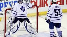 Toronto Maple Leafs' goalie James Reimer celebrates his shut-out victory after the Leafs win over the Senators in Ottawa March 30, 2013. (BLAIR GABLE/REUTERS)