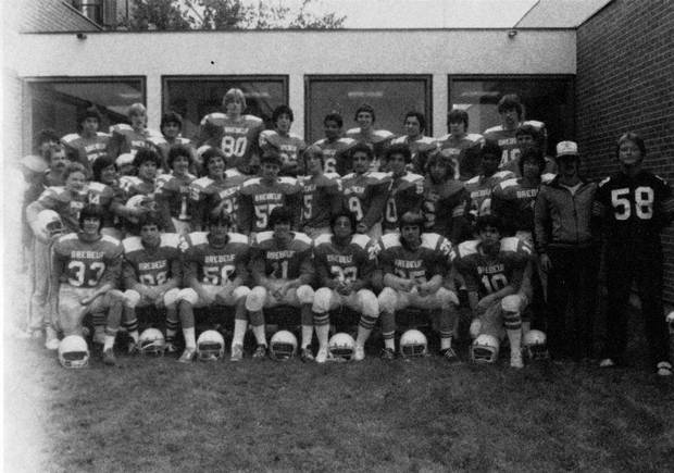 A school yearbook photo shows Joseph Boyden, shown in the middle row, with Brebeuf College School's first junior football team.