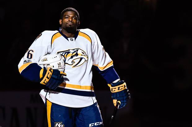 MONTREAL, QC - MARCH 02: A teary-eyed P.K. Subban #76 of the Nashville Predators looks on while receiving a standing ovation during the NHL game against the Montreal Canadiens at the Bell Centre on March 2, 2017 in Montreal, Quebec, Canada.